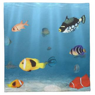 Oceans Of Fish Printed Napkin