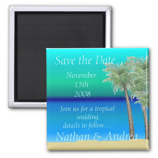 Oceanview Tropical Save the Date Magnet