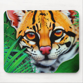 Ocelot in jungle with Red Eye Tree Frog Mouse Pad