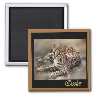 ocelot wild cat lovers square magnet