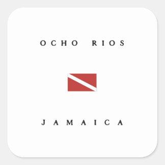 Ocho Rios Jamaica Scuba Dive Flag Square Sticker