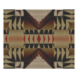 Ochre Brown Khaki Red Native Tribal Mosaic Pattern Poster