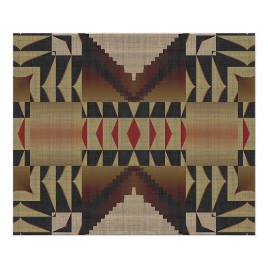 Ochre Brown Khaki Red Native Tribal Mosaic Pattern