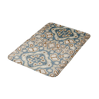 Ochre Brown Teal Blue Oriental Bali Batik Pattern Bath Mat