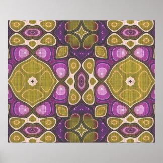 Ochre Purple Olive Green Nouveau Mosaic Pattern Poster