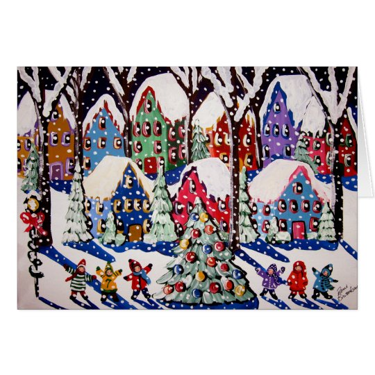 O'Christmas Tree Carolers Fun Winter Folk Art Card