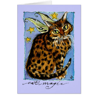 Ocicat cat magic birthday greeting or note card