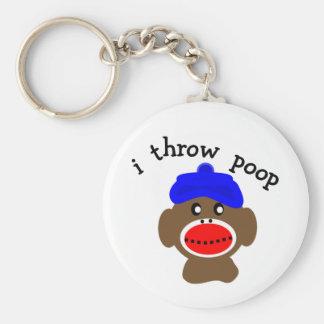 "ock Monkey ""I THROW POOP"" Key Ring"