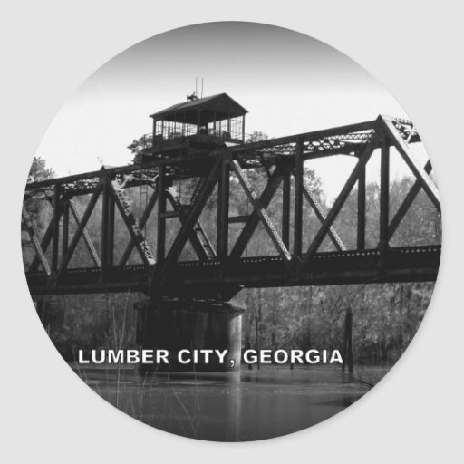 OCMULGEE RIVER BRIDGE - LUMBER CITY, GEORGIA ROUND STICKER