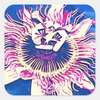Ocoee flower Passiflora caerulea passion pop art Square Sticker