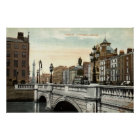 O'Connell Bridge, Dublin, Ireland 1915 Vintage Poster