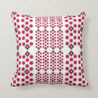 Octagon Pillow in Red and Brown with Squares