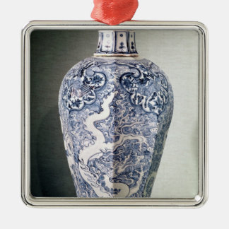 Octagonal 'Mei- P'ing' vase with white Christmas Ornament