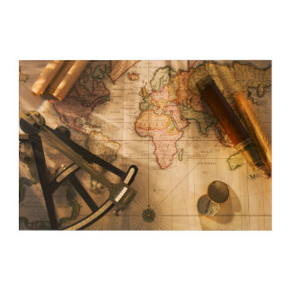 Octant, Compass And Telescope On Nautical Map Acrylic Print