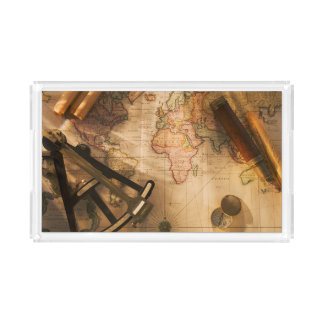 Octant, Compass And Telescope On Nautical Map Acrylic Tray