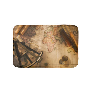 Octant, Compass And Telescope On Nautical Map Bath Mat