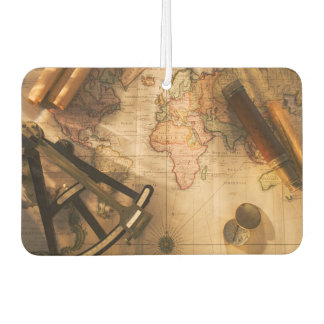 Octant, Compass And Telescope On Nautical Map Car Air Freshener