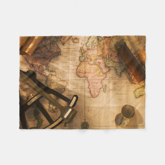 Octant, Compass And Telescope On Nautical Map Fleece Blanket
