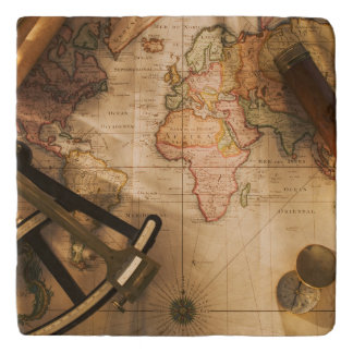 Octant, Compass And Telescope On Nautical Map Trivet