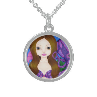 Octavia and her Octopus friend will help you 'sea' Round Pendant Necklace