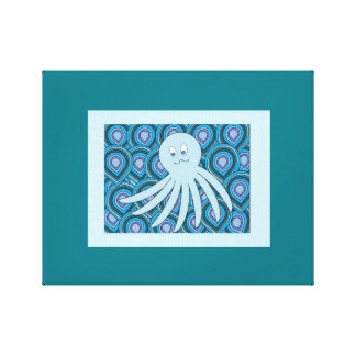octo light blue kids print wall hanging