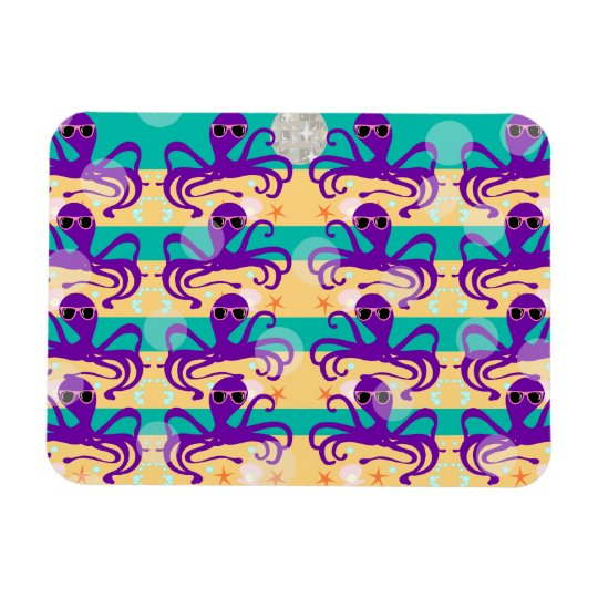 Octo Party Octopus Pattern Rectangular Photo Magnet