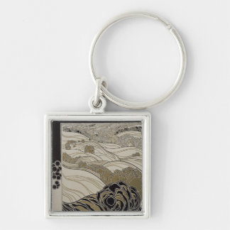 October, 1901 Silver-Colored square key ring
