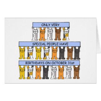 October 31st Birthday Cats Card