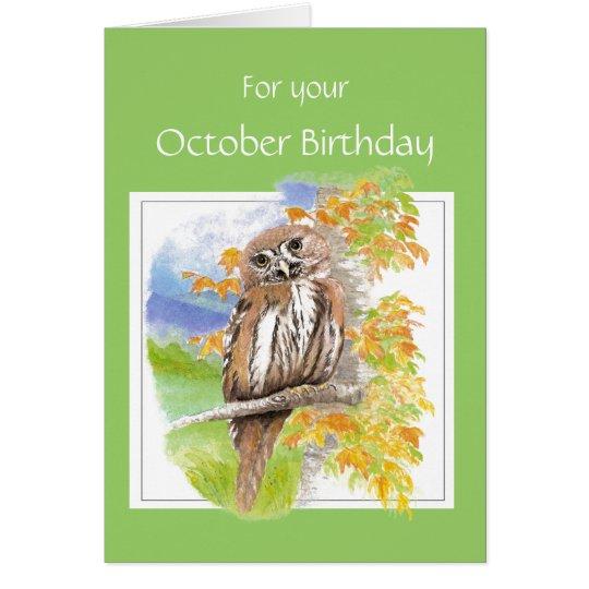 October Birthday, Fall Owl Bird Card