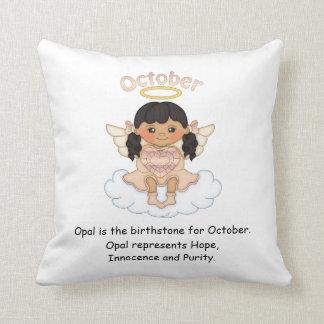 October Birthstone Angel Black Throw Cushions