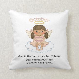 October Birthstone Angel Brunette Throw Cushion
