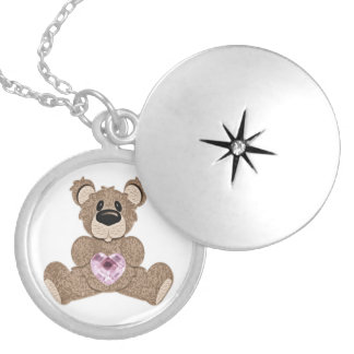 October birthstone heart teddy bear locket