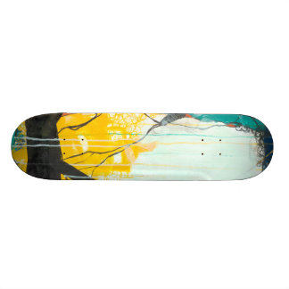 October - Blue & Yellow Abstract Skateboard Deck