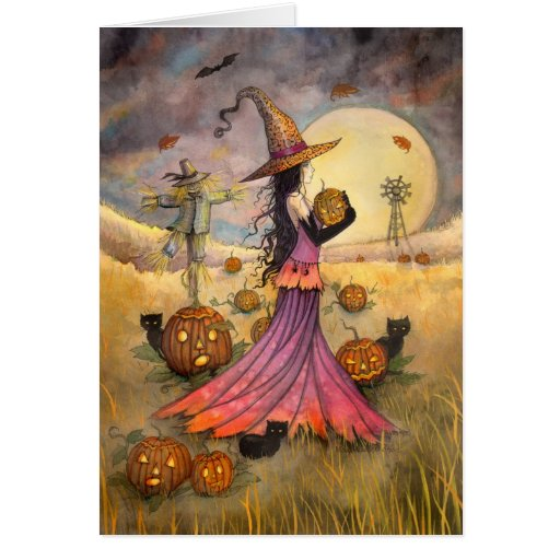 October Fields Halloween Witch and Cats Fantasy Greeting Cards