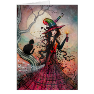 October Flame Halloween Witch Black Cat Art Card