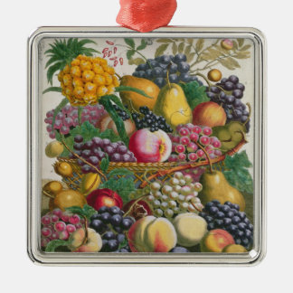 October, from 'Twelve Months of Fruits' Silver-Colored Square Decoration