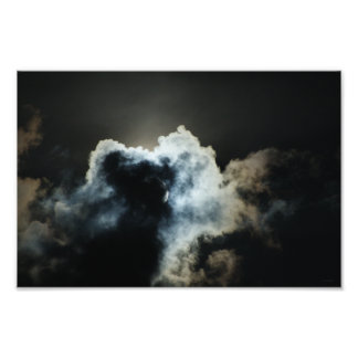 October Full Hunters Moon Supermoon Night Clouds Photographic Print