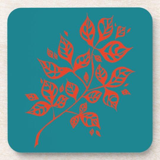 October Leaves Set of 6 Coasters - Orange