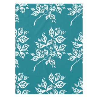 October Leaves Small Tablecloth – White & Teal