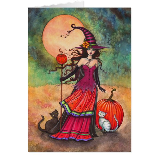 October Moon Halloween Witch and Cats Illustration Card