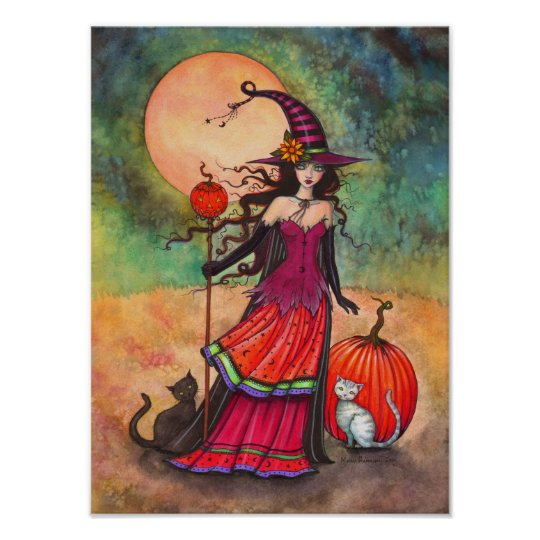 October Moon Witch Cat Halloween Illustration Poster