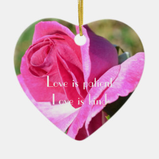 October Pink Rose Heart Ornament