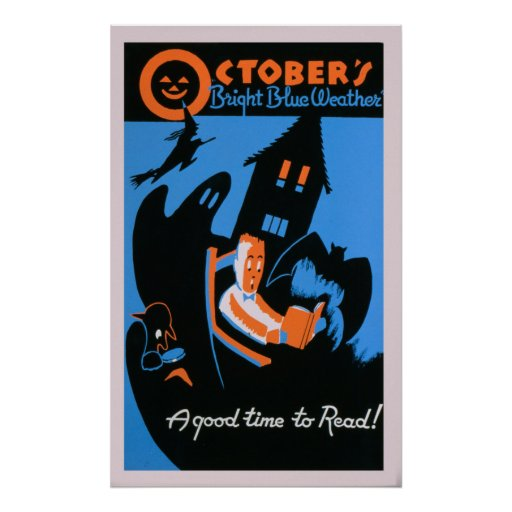 October Reading Library Halloween Vintage WPA Poster