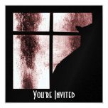 October Showers Cat Silhouette At Window 1 Red 13 Cm X 13 Cm Square Invitation Card