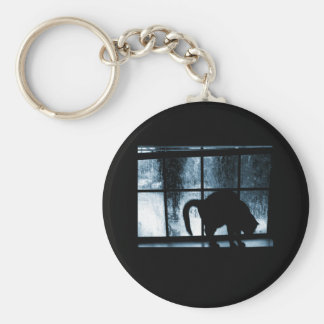 October Showers Cat Silhouette At Window 2 Blue Basic Round Button Key Ring