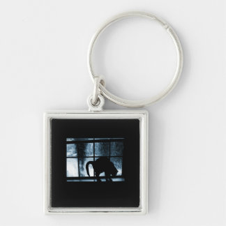October Showers Cat Silhouette At Window 2 Blue Silver-Colored Square Key Ring