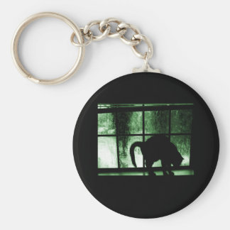 October Showers Cat Silhouette At Window 2 Green Basic Round Button Key Ring