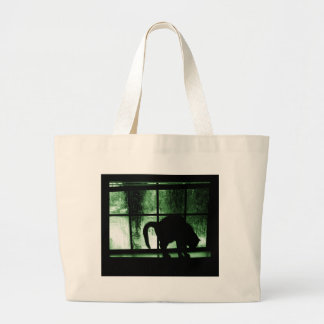 October Showers Cat Silhouette At Window 2 Green Jumbo Tote Bag