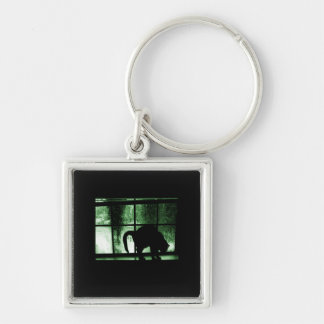 October Showers Cat Silhouette At Window 2 Green Silver-Colored Square Key Ring