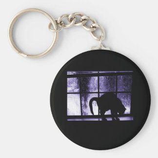October Showers Cat Silhouette At Window 2 Indigo Basic Round Button Key Ring